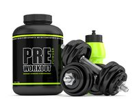 3d render of pre-workout powder with drink and dumbbells Royalty Free Stock Images