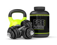 3d render of pre-workout powder with dumbbells and kettlebell Stock Images