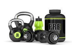 3d render of pre-workout powder with dumbbells and kettlebell Royalty Free Stock Photography