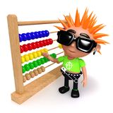 3d Punk teen cartoon character counts with an abacus. 3d render of a punk teen cartoon character counting with an abacus Royalty Free Stock Image
