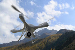 3d render quadrocopters mountains in the background. Radio-contr Stock Image