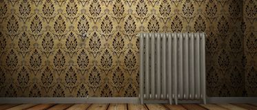 3D render of a radiator on a wood floor and against a damp wall royalty free illustration