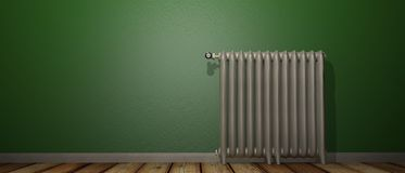 3D render of a radiator on a wood floor and against a green wall royalty free illustration