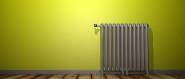 3D render of a radiator on a wood floor and against a yellow wall royalty free illustration