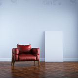 3d render red armchair in white interior mock up front view Stock Photography