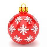 3d render - red christmas bauble over white background. 3d render of red christmas bauble with pattern over white background - merry christmas concept Royalty Free Stock Photography