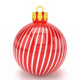 3d render - red christmas bauble over white background. 3d render of red christmas bauble with pattern over white background - merry christmas concept Stock Image