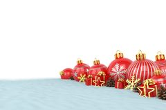 3d render - red christmas baubles over white background Stock Image