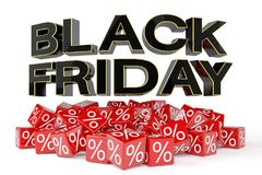 3d render - red cubes with percentage - black friday. 3d render - Red cubes with percentage signs on a reflective bottom over it in capital letters `black friday Stock Images