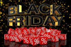 3d render - red cubes with percentage - black friday. 3d render - Red cubes with percentage signs on a reflective bottom over it in capital letters `black Royalty Free Stock Photos