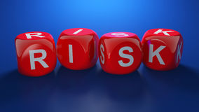 Risk text. 3d render of red dices with RISK text Royalty Free Stock Photography