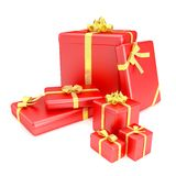 3D render of red gift boxes with yellow ribbons Royalty Free Stock Images