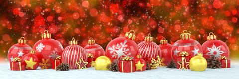 3d render - red and golden christmas baubles over bokeh   Royalty Free Stock Photo