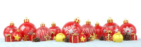 3d render - red and golden christmas baubles over white backgrou Royalty Free Stock Image