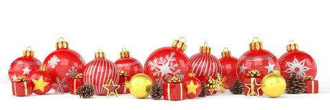 3d render - red and golden christmas baubles over white backgrou Stock Photo