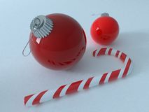 3D render of red holiday decoration baubles with candy cane. Red holiday decoration baubles with candy cane stock illustration
