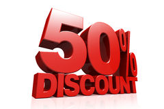 3D render red text 50 percent discount. On white background with reflection Royalty Free Stock Photo