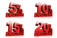 3D render red text 5,10,15,20 percent discount. On white background with reflection Royalty Free Stock Photography