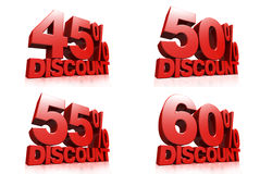 3D render red text 45,50,55,60 percent discount. On white background with reflection Stock Photography