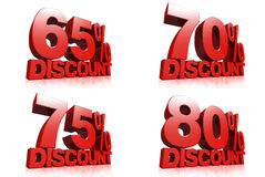 3D render red text 65,70,75,80 percent discount. On white background with reflection Stock Photo