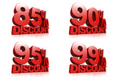 3D render red text 85,90,95,99 percent discount. On white background with reflection stock illustration