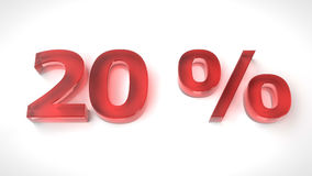 3D render red text 20 percent off. On white background with reflection. 3d render illustration Royalty Free Stock Photo