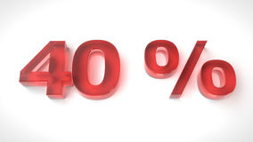 3D render red text 40 percent off. On white background with reflection. 3d render illustration Royalty Free Stock Images