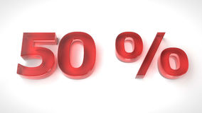 3D render red text 50 percent off. On white background with reflection. 3d render illustration Stock Image