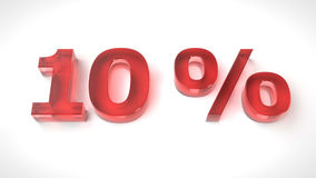 3D render red text 10 percent. Off on white background with reflection. 3d render illustration vector illustration