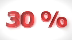 3D render red text 30 percent off. On white background with reflection. 3d render illustration Royalty Free Stock Photos