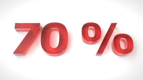 3D render red text 70 percent off. On white background with reflection. 3d render illustration Stock Images