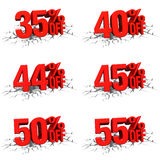 3D render red text 35,40,44,45,50,55 percent off on white crack. Hole background vector illustration