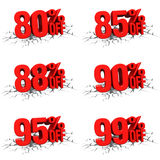 3D render red text 80, 85, 88, 90, 95, 99 percent off on white crack. Hole background royalty free illustration