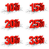 3D render red text 10,15,20,25,30,33 percent off on white crack. Hole background Royalty Free Stock Image