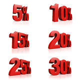 3D render red text 5,10,15,20,25,30 percent. On white background with reflection Royalty Free Stock Photography