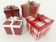3D render of a red and white wrapped holiday presents with ribbons on white background Stock Images