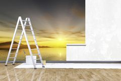 Photo mural sunset. 3d render of redecorate a room with a photo mural sunset Stock Photos
