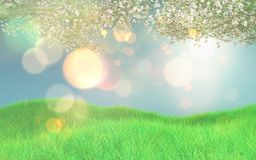 3d retro styled image of cherry blossom and grassy landscape. 3d render of a retro styled image of cherry blossom and grassy landscape Royalty Free Stock Photography