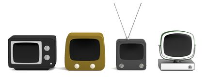3d render of retro TV set Royalty Free Stock Image