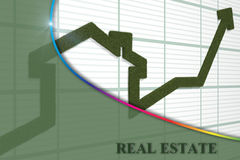 Rising arrow. 3d render of rising arrow, shaped like a house Stock Image