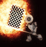 3D render of robot with chequered flag exploding. 3D render of a robot with a chequered flag and explosion effect royalty free illustration