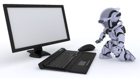 Robot with computer Royalty Free Stock Photography