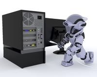 Robot with computer Royalty Free Stock Photo