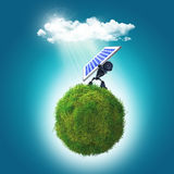 3D render of a robot holding a solar panel on a grassy glboe Stock Photo