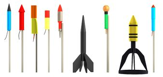 3d render of rockets. Realistic 3d render of rockets Royalty Free Stock Photos
