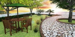 3D Render of Roof Garden. Roof top garden 3D landscape Royalty Free Stock Photography