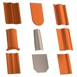 3d render of roof tiles Royalty Free Stock Photos