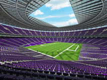 3D render of a round american football stadium with purple seats for hund Stock Photos