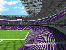 3D render of a round american football stadium with purple seats Royalty Free Stock Photo