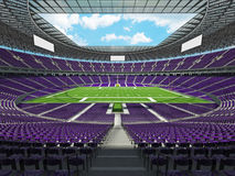 3D render of a round american football stadium with purple seats Stock Image